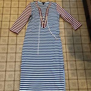 J.Crew Striped Maxi Sailor Dress
